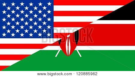 Usa Kenya Half Flag
