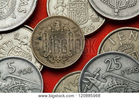 Coins of Spain. Coat of arms of Spain under Franco depicted in the Spanish one peseta coin (1966).