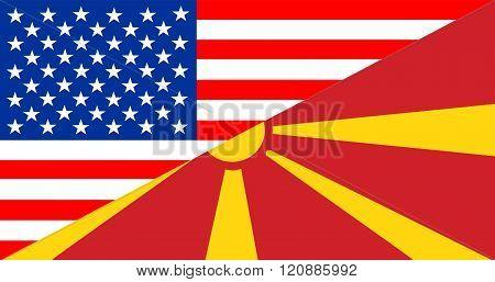 Usa Macedonia Half Flag