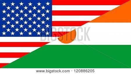Usa Niger Half Flag