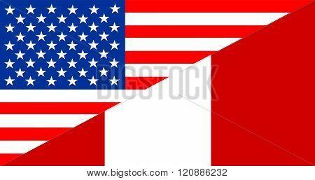 Usa Peru Half Flag