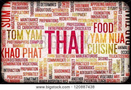 Thai Food and Cuisine Menu Background with Local Dishes