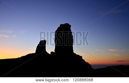 Roque Nublo at sunset, Canary islands