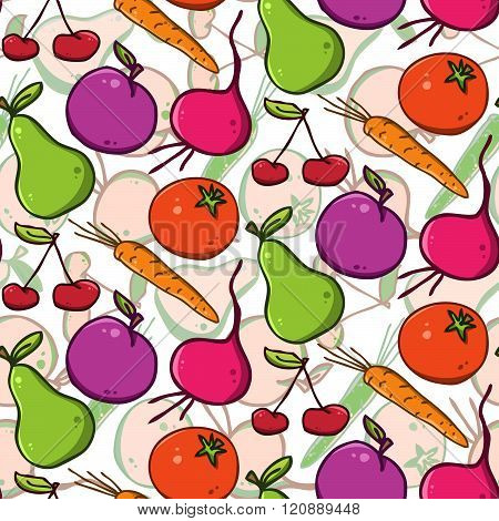 seamless vector bright background. colorful fruits and vegetables