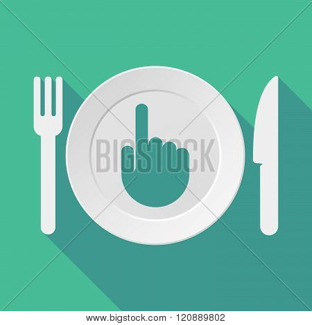 Long Shadow Tableware Illustration With A Pointing Hand