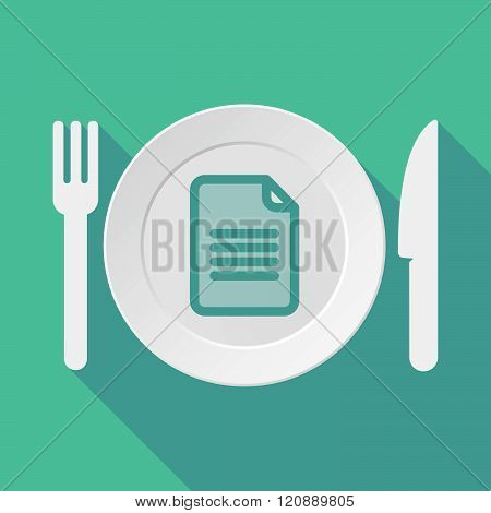 Long Shadow Tableware Illustration With A Document