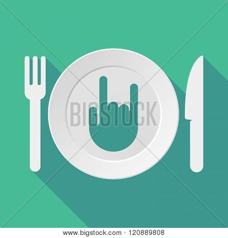 Long Shadow Tableware Illustration With A Rocking Hand