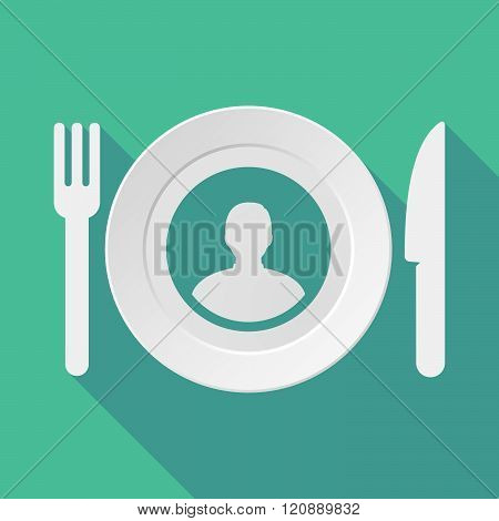 Long Shadow Tableware Illustration With A Male Avatar
