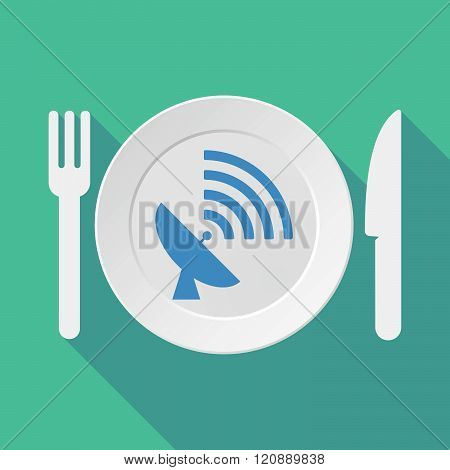 Long Shadow Tableware Illustration With A Satellite Dish