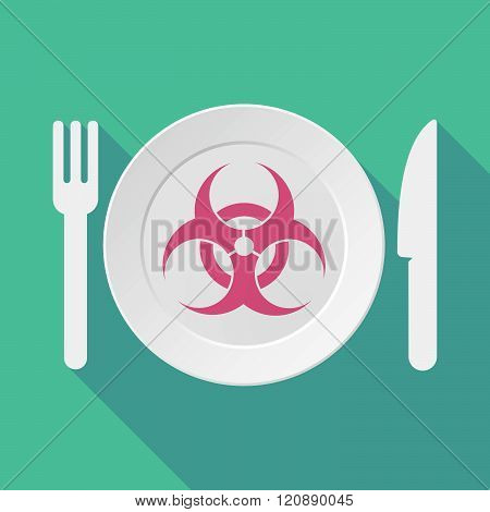 Long Shadow Tableware Illustration With A Biohazard Sign