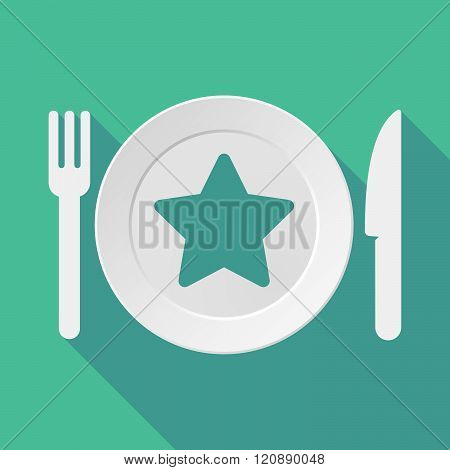 Long Shadow Tableware Illustration With A Star