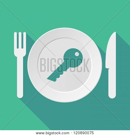 Long Shadow Tableware Illustration With A Key