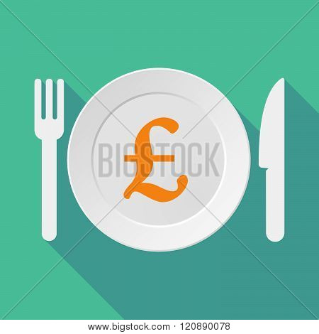 Long Shadow Tableware Illustration With A Pound Sign