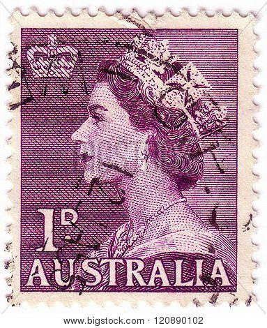 Australia - Circa 1953: Stamp Printed By Australia Shows Queen Elizabeth Ii, Circa 1953