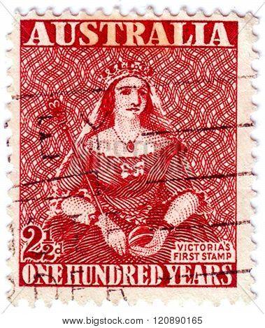 Australia - Circa 1950: A 2½ D Maroon Stamp Printed In Australia Shows Queen, Series 100 Years Of Th