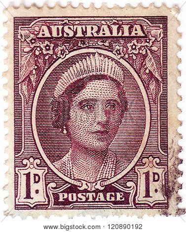 Australia - Circa 1942: A Stamp Printed In Australia Shows Queen Elizabeth The Queen Mother, Circa 1