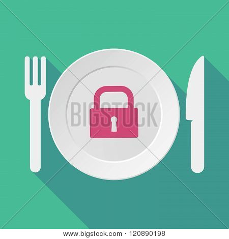 Long Shadow Tableware Illustration With A Closed Lock Pad