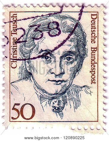 GERMANY - CIRCA 1986: A postage stamp of GERMANY shows Christine Teusch, Minister of Educations and