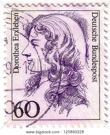 Germany - Circa 1987: A Stamp Printed In Germany Shows Dorothea Erxleben, The First Female Medical D