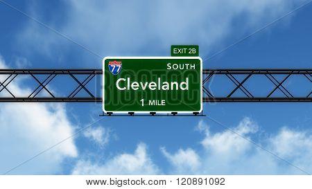 Cleveland Usa Interstate Highway Sign