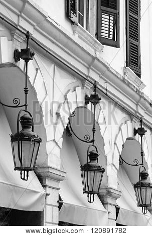 Greece. Corfu (kerkyra) Island. Corfu Town. Street Lamp. In Black And White