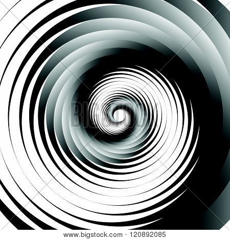 Concentric - Converging Circles. Abstract Vortex, Spiraling Graphics.