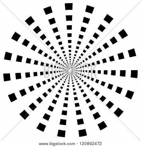 Abstract Monochrome Radial, Burst Element. Single Shape Isolated.