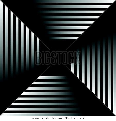 Grayscale Abstract Pattern, Background With Radiating Squares