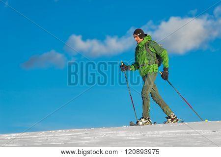 Beautiful Shot Of Hiker In Mountain In Winter Season.