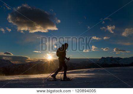 Cloudy Sunset With A Walker Closeup