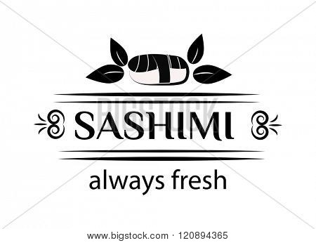 Sashimi logo vector illustration. Sashimi logo isolated on white background. Sashimi logo vector icon illustration. Sashimi logo isolated vector. Sashimi logo silhouette