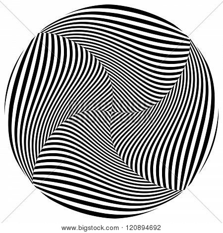Abstract Monochrome Circle Element With Spirally Distortion Effect