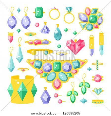 Set of vector jewelry items. Gold and gemstones jewelry precious accessories - tiara, necklace, pearl beads, ring, earrings, bracelet, brooch. Jewelry items vector illustration.