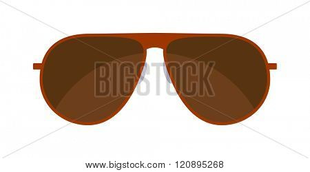 Vector Sunglasses isolated on white background. Brown Sunglasses. Hipster fashion sunglasses. Summer sunglasses vector illustration.