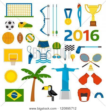 Rio summer games icons vector illustration. Rio summer games icons isolated on white background. Rio summer games icons vector icons. Summer games symbols