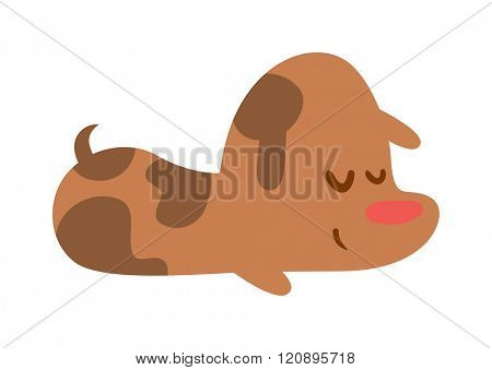 Puppy sleep vector isolated on white. Sleeping funny puppy. Puppy sleep isolated on white. Sticker with puppy sleep. Puppy sleep Vector illustration. Cute puppy sleep. Cute cartoon puppy sleep.