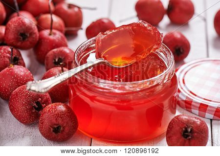 Jar With Teaspoon Jelly Hawthorn