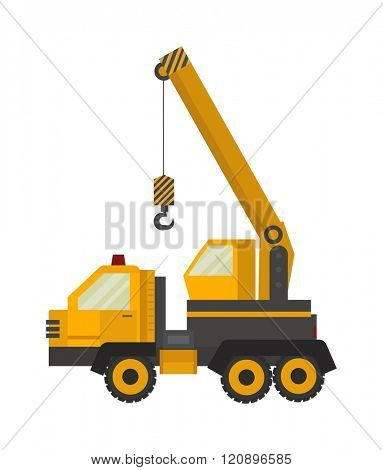 Crane truck vector illustration. Vector Crane truck isolated on white background. Vector crane truck icon illustration. Crane truck isolated vector. Vector Crane truck symbol
