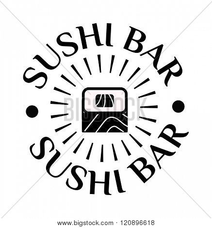 Sushi logo vector illustration. Sushi logo logo isolated on white background. Sushi logo vector icon illustration. Sushi logo isolated vector. Sushi logo silhouette