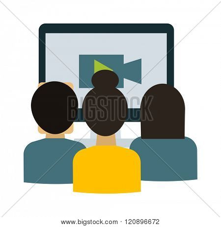 Webinar students vector illustration. Webinar students isolated on white background. Webinar students vector icon illustration. Webinar students isolated vector. Webinar students silhouette