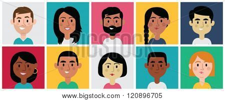 Set of diverse avatars for profile pictures. Different nationalities, clothes and hair styles. Cute, flat cartoon style.
