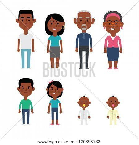 Flat vector african american family members. Parents, grandparents, children and baby.
