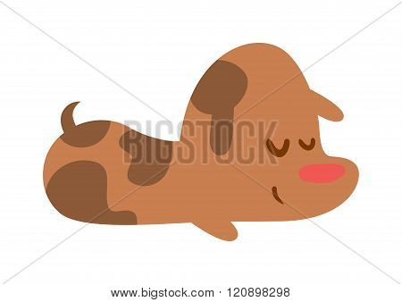 Puppy sleep with red nose vector isolated on white.