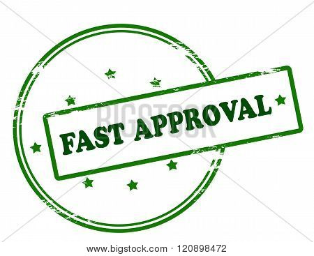 Rubber stamp with text fast approval inside vector illustration