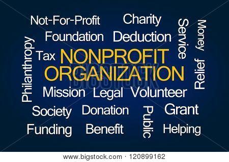 Nonprofit Organization Word Cloud on Blue Background