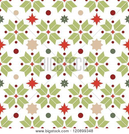 Vector Seamless Pattern Of Geometric Snowflakes. Nordic Pattern In Christmas Traditional Colors.