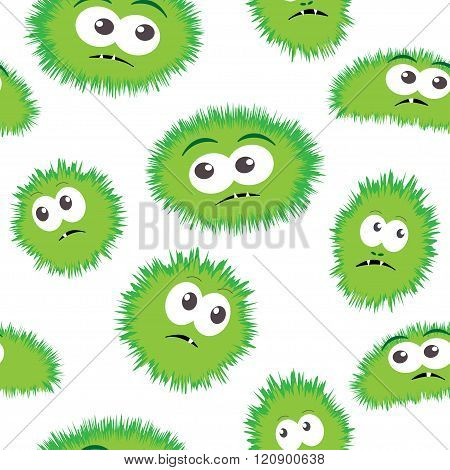 Seamless pattern bacteria with monster face. Vector background with cartoon funny germs, cute monste