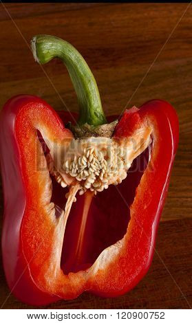 Cut Red Pepper. Visible Grains Of Pepper