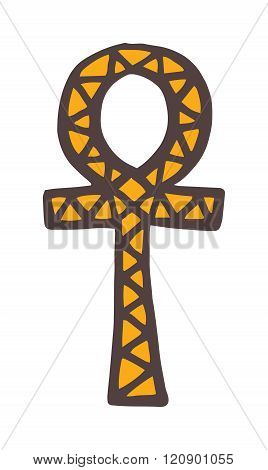 Egypt symbols vector Ankh Hieroglyph on white background