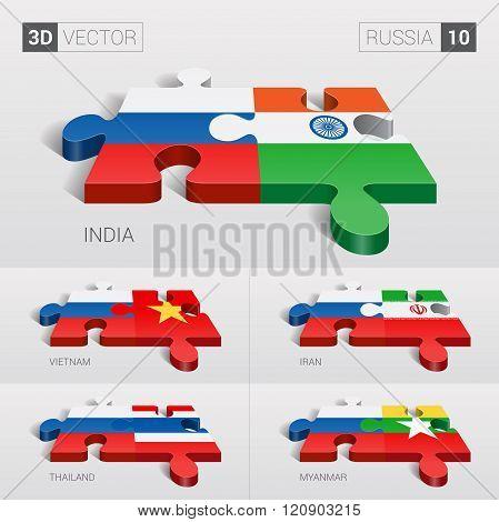 Russia Flag. 3d vector puzzle. Set 10.